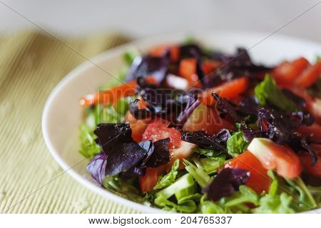 Fresh Vegetable Salad On The Table, Close-up