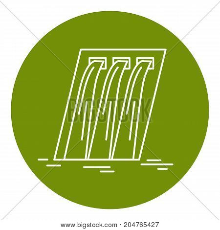 Hydroelectric station icon in thin line style. Water flow energy. Linear symbol in round frame.