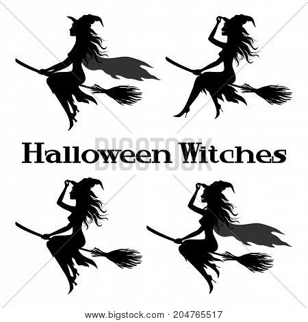 Set Witch Flying on Broom, Picture for Holiday Halloween, Black Silhouettes Isolated on White Background. Vector