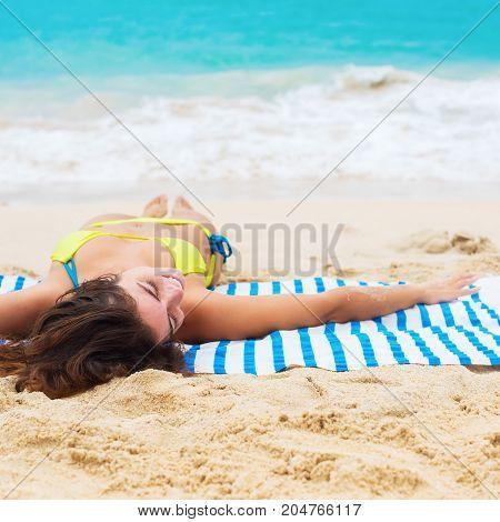 Young Beautiful Suntan Woman Lying Tropical Beach