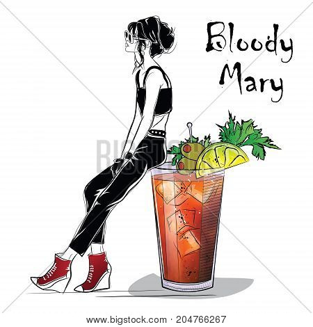 Hand drawn illustration of cocktail with girl. Bloody Mary. Vector illustration
