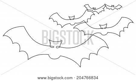 Bats one line drawing - vector illustration