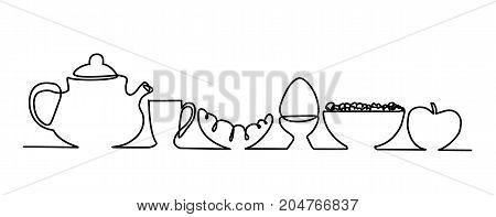 Breakfast one line drawing - vector illustration