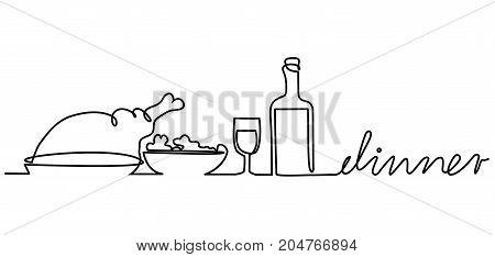 Dinner  one line drawing - vector illustration