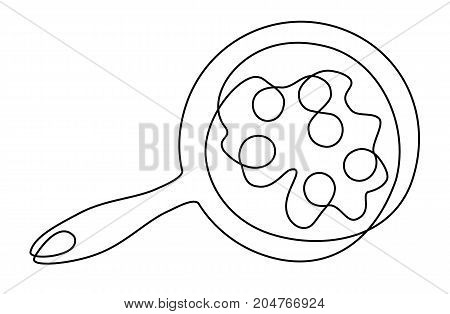Scrambled eggs one line drawing - vector illustration