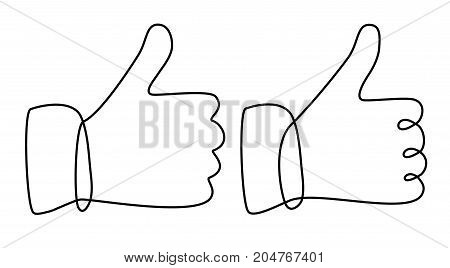 OK hand one line drawing - vector illustration