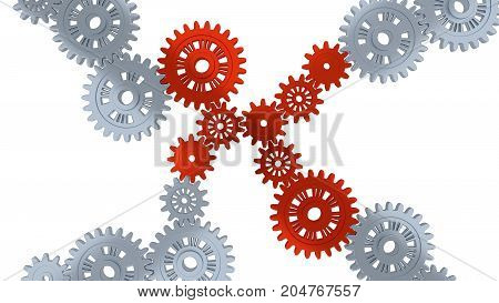 3D illustration of Up View of Some Silver Gears and Eight Red with a white background