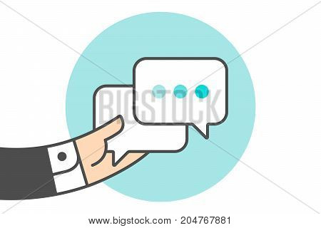 Icon of dialog messages. Two white boobles messages with text. Hand of businessman holds the messages icon. Icon of business dialog isolated on a blue circle in lines style. Vector Illustration
