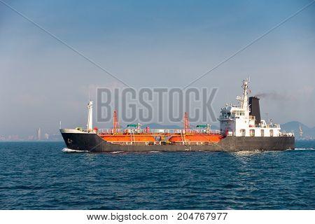 Maritime fuel transportation on the sea. Sea freight Business logistics