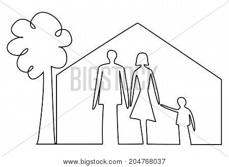 Family home security one line drawing- vector illustration