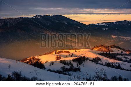 Winter Sunrise In Mountainous Rural Area