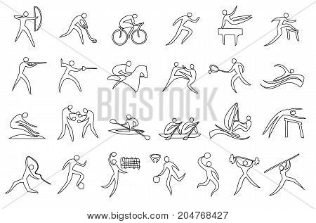 Sport silhouettes set one line drawing - vector illustration