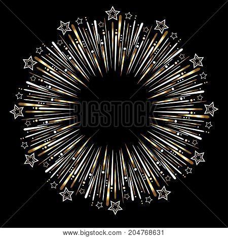 Golden celebration fireworks on black background for various events. Vector illustration.