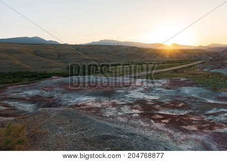 Beautiful sunset in the red mountains landscape