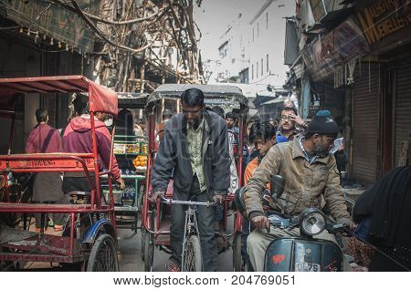 Old Delhi India : February 15th 2015 - A shot busy street in Old Delhi India