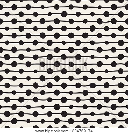 Hand drawn black and white ink abstract seamless pattern. Vector stylish grunge texture. Monochrome geometric scattered shapes paint brush lines