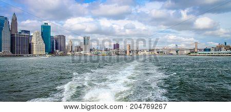 New York USA - 28 September 2016: New York Waterway Vista between Manhattan and Brooklyn.