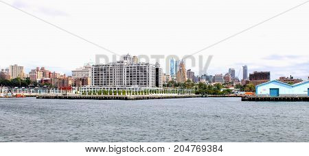 New York USA - 28 September 2016: Brooklyn Waterfront between Pier 6 and the Port Authority Marine Terminal along the East River.