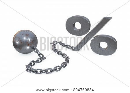 3d illustration: rusty iron ball and chain with the cuff hanging percent symbol on white background. Restrictions and limits. Loss of freedom. Boundaries. The interest on the loan and the mortgage.