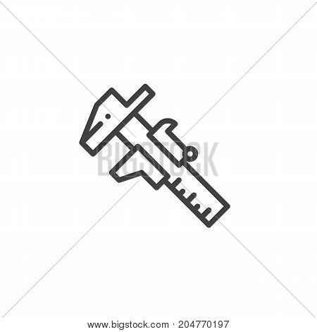 Caliper work tool line icon, outline vector sign, linear style pictogram isolated on white. Symbol, logo illustration. Editable stroke