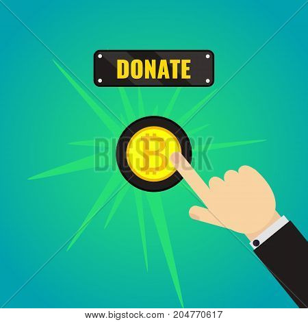Man pressing bitcoin donate button. Giving money, fundraising concept. Internet banking, mobile payments. Touch, push, press symbol. Vector illustration