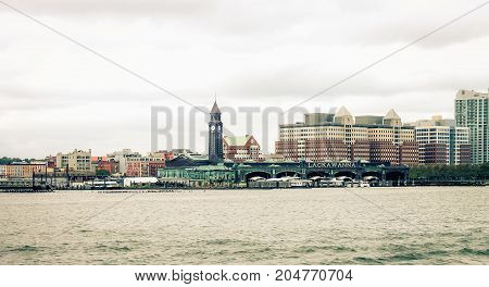 New Jersey USA - 28 September 2016: Hoboken waterfront Architecture on the Hudson River.