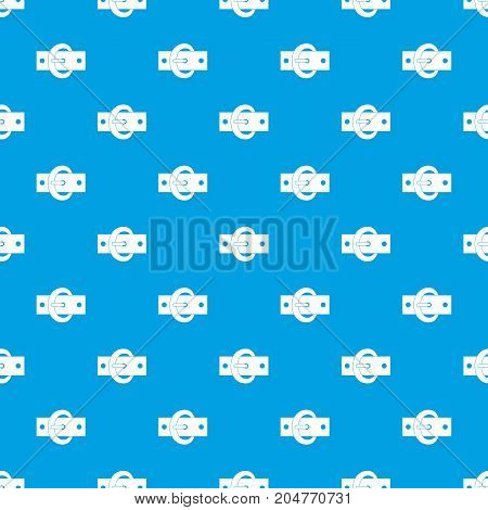 Buckle belt pattern repeat seamless in blue color for any design. Vector geometric illustration