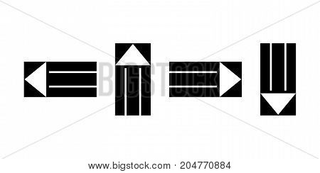 Pointers, arrows the direction of motion. Black silhouettes, signs isolated. Vector illustration