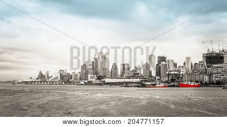New York USA - 28 September 2016: Manhattan Waterfront Cityscape along the Hudson River Greenway from Pier 66.