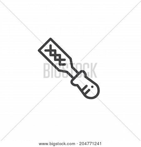 Rasp work tool line icon, outline vector sign, linear style pictogram isolated on white. Symbol, logo illustration. Editable stroke