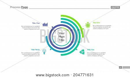 Four options doughnut chart slide template. Business data. Arc, diagram, design. Creative concept for infographic, presentation. Can be used for topics like management, statistics, research.