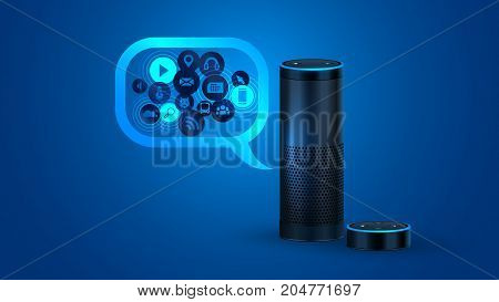 Smart speaker with voice control. Amazon Echo Dot Alexa Voice Service activated recognition system on blue backdrop. Smart home voice control.
