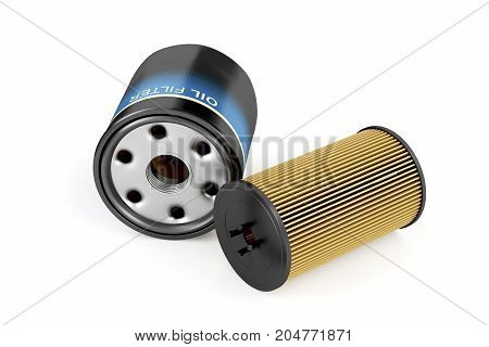 Spin-on and cartridge oil filters on white background, 3D illustration