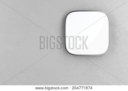 Blank square signboard on the gray wall, 3D illustration