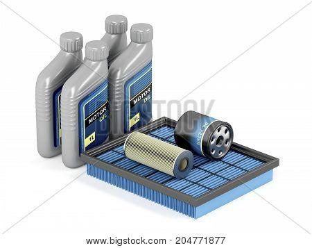Set of automotive filters and bottles of motor oil, 3D illustration