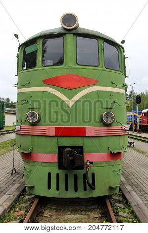old soviet train antic locomative on rail