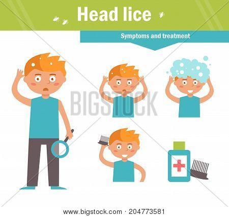 Head lice. Symptoms and treatment. Vector. Cartoon character Isolated Flat