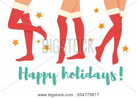 Happy holidays. Woman legs in Christmas socks. New year. Vector. Cartoon. Isolated Flat