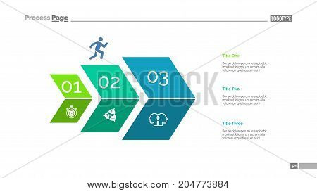 Three steps process chart slide template. Business data. Optimization, diagram, design. Creative concept for infographic, presentation. Can be used for topics like marketing, strategy, economics.