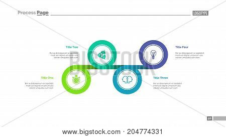 Four circles process chart slide template. Business data. Option, diagram, design. Creative concept for infographic, presentation. Can be used for topics like management, strategy, planning.