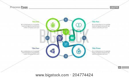 Four options process chart slide template. Business data. Option, diagram, design. Creative concept for infographic, presentation. Can be used for topics like management, strategy, teamwork.