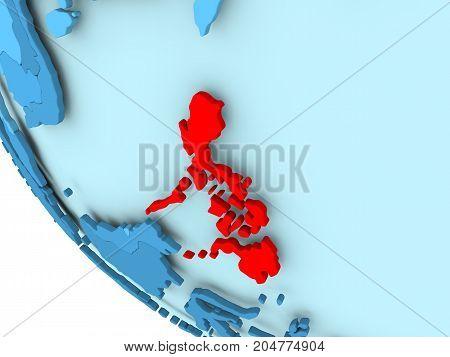 Philippines On Blue Political Globe