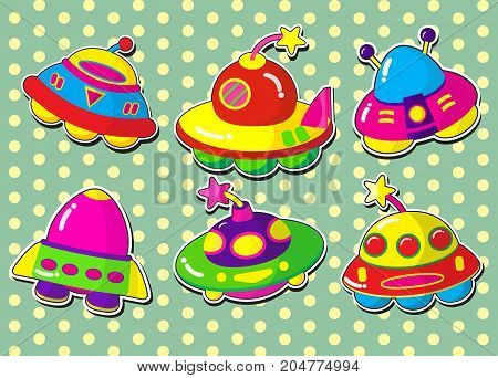 ufo stickers.ufo cartoon with illustration style.ufo background.