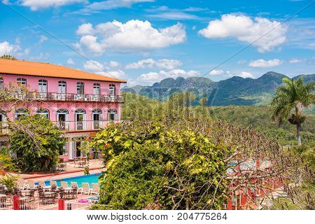 View Of The Hotel And Vinales Valley, Pinar Del Rio, Cuba. Copy Space For Text.