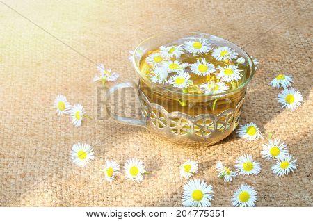 Chamomile tea on burlap sunbeam in a vintage mug