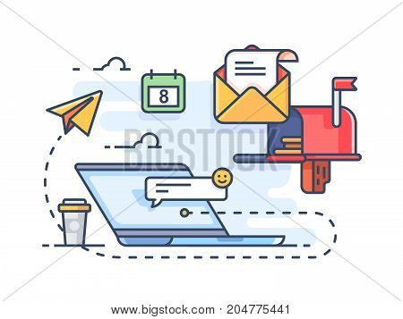 Mail marketing mailing to e-mail. Receiving messages on laptop. Vector illustration
