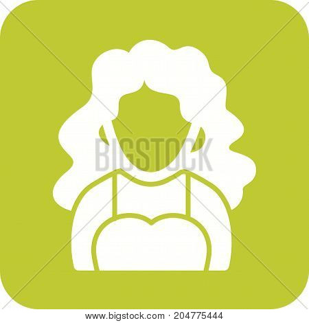 Hair, wavy, lady icon vector image. Can also be used for Avatars. Suitable for web apps, mobile apps and print media.