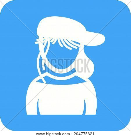Girl, cap, hat icon vector image. Can also be used for Avatars. Suitable for mobile apps, web apps and print media.