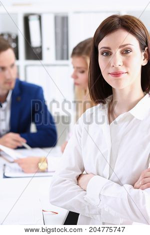 Beautiful Girl At Workplace Look In Camera