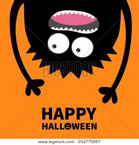 Happy Halloween card. Pumpkin text. Screaming monster head silhouette. Two eyes teeth tongue hands. Hanging upside down. Black Funny Cute cartoon baby character Flat design Orange background Vector